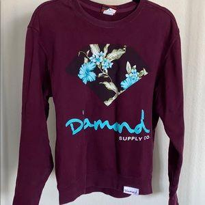 Diamond supply co maroon sweatshirt